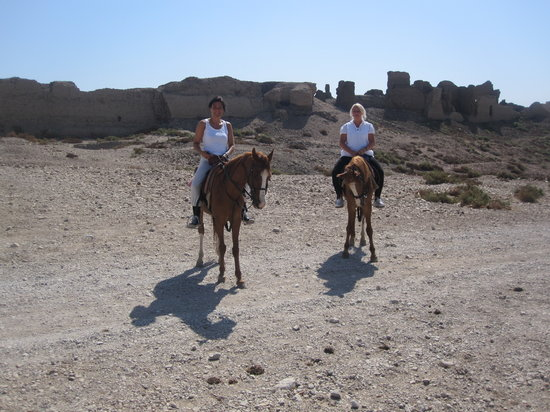 Pharaoh's Stables : sara and Jette by the dsert