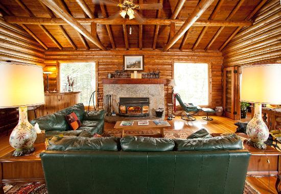 Silver Forest Inn : Great Room's warm cozy fireplace & Bar