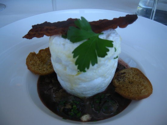 """Aupres du Clocher : """":Bacon and Eggs"""",carmelized shallots and escargot..oh yeah..."""