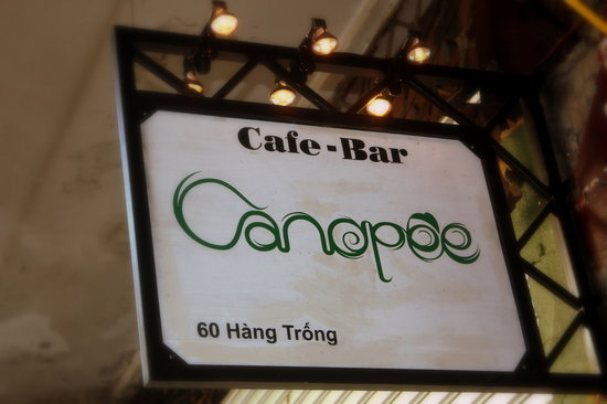 Canopee: Signboard Canopée bar & café in old street in Hanoi