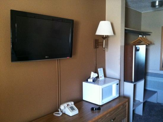 Plaza Motel: tv microwave fridge