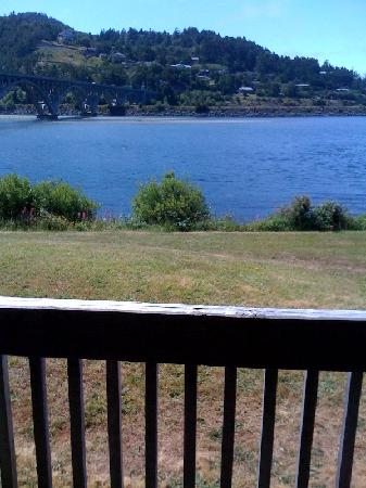 Jot's Resort: View of the river from out decks.  Closest waterfront lodging in Gold Beach, Oregon