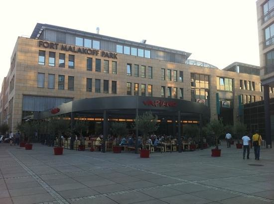 Vapiano: a view from the river of the outdoor terrace