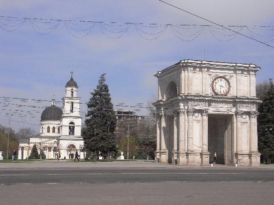 Chisinau, Moldavie : Triumphbogen und Kathedrale