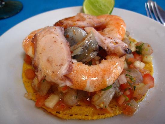 Las Mariscadas: Mixed seafood ceviche tostada