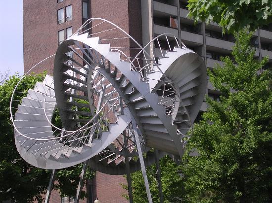 """Hotel Dorion: sculpture in front of """"Dorion"""""""