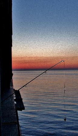 Cedar Key Harbour Master Suites: fishing at dawn from our balcony