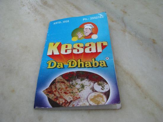Kesar da Dhaba: Menu Card