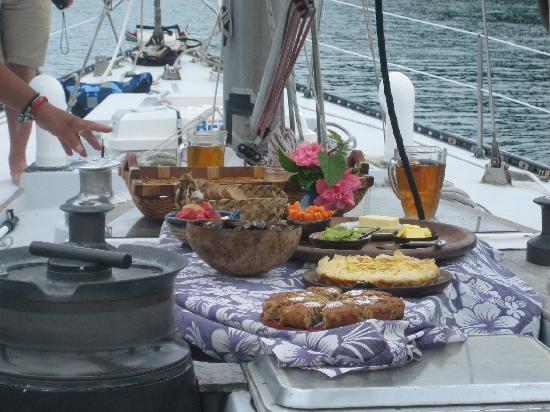 Phantom Sailing: Food served on deck