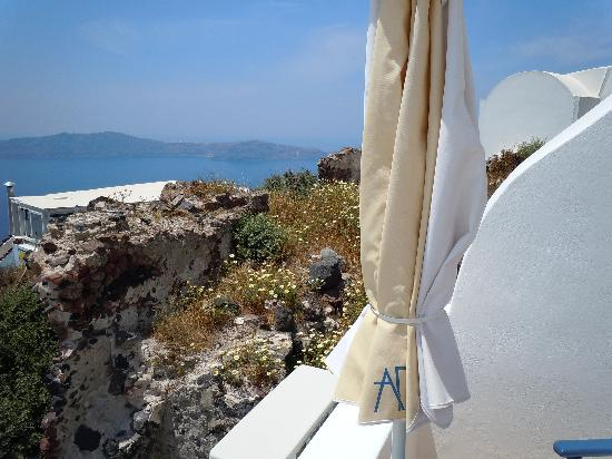 Arc Houses: Left to right view from shared balcony that is the Aegean Room.