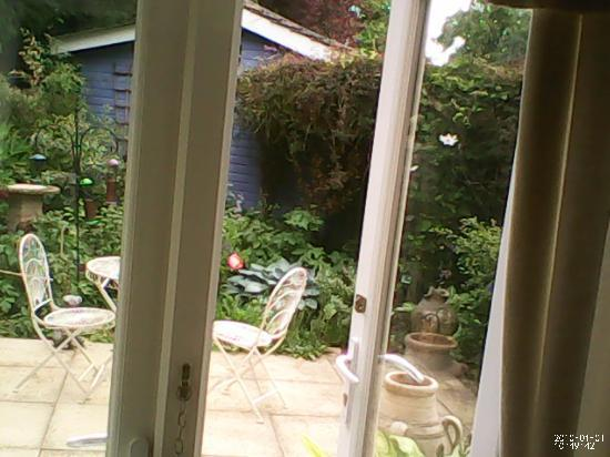 Buttermilk Bed & Breakfast: View of the garden from inside our room...