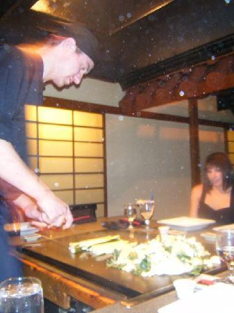 Samurai Japanese Steak House: Joseph cooking