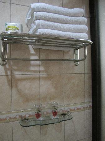 rack inside bathroom