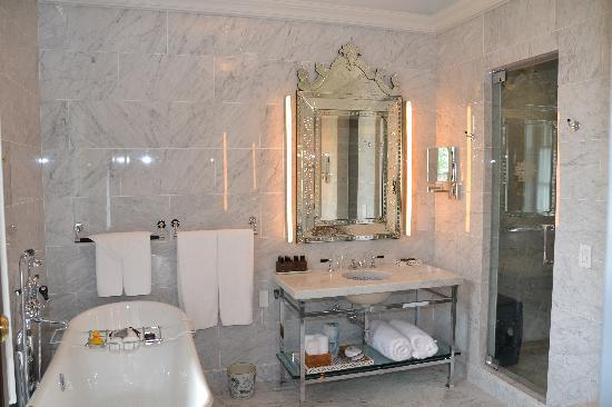 Chester, NY: Marble bathroom with heated floors and steam shower