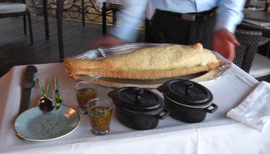 Chateau de la Chevre d'Or: Our salt crusted seabass