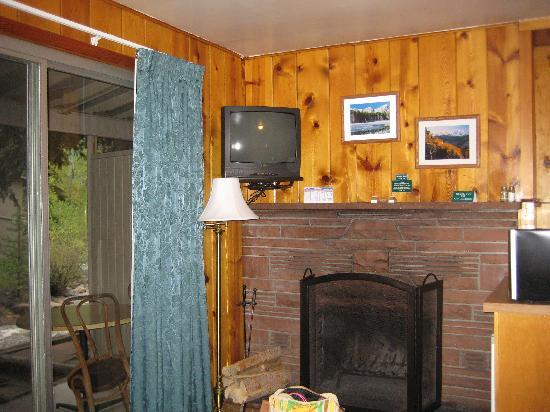 Inn on Fall River: Fireplace, microwave/fridge on right, patio on left
