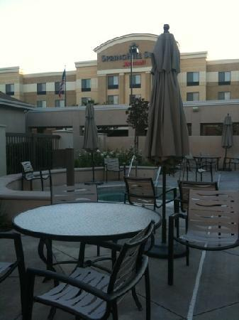 Homewood Suites by Hilton Fresno: in the pool area can view marriott hotel