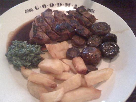 Goodman: 800g Porterhouse and Bone in Rib-Eye with sides of Truffle Chips, Spinach Cremed with Gruyere Ch