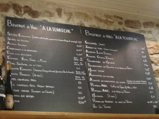 A La Tchatche : Menu