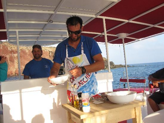 Santorini Sailing: George whipping up tzakiki