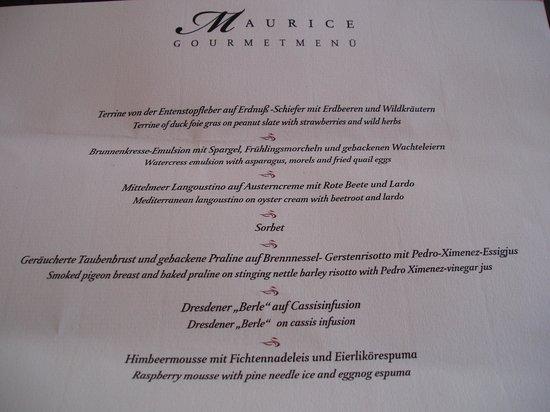 Restaurant Moritz: Menükarte des 7-Gang-Gourmetmenüs