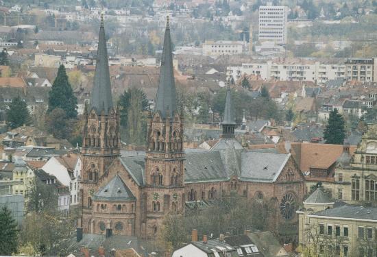 Freiburg im Breisgau, Tyskland: vista della citttà dalla collinetta