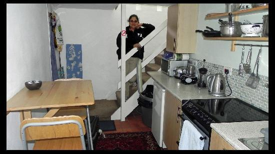 Oystercatcher Bed & Breakfast : Fully equipped kitchen and the stairs leading up.