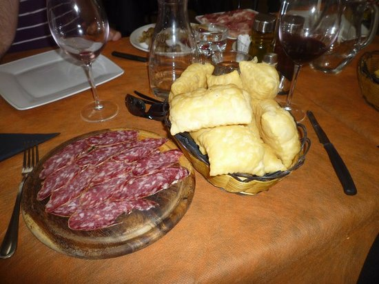 Trattoria Hoste : The antipasti:Traditional Gnocco Fritto with salami