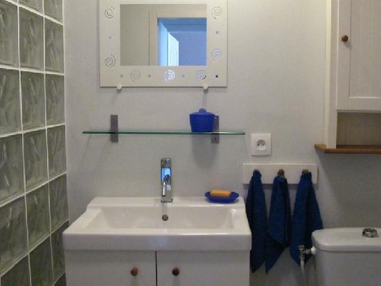 Maison Iribarnia : petite salle d'eau gite Iribarnia