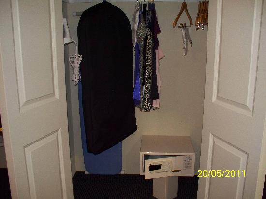 SpringHill Suites Waco Woodway: closet area showing safe and ironing equip.