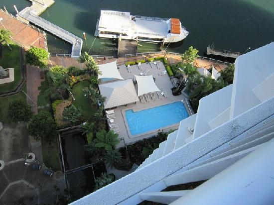 Moorings on Cavill Avenue: View of pool from our room