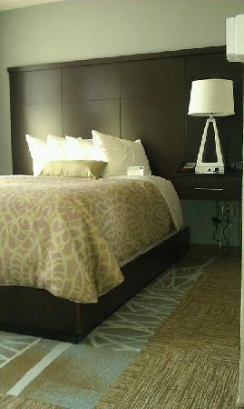 Staybridge Suites Stone Oak: Queen bed with modern headboard and carpet tiles