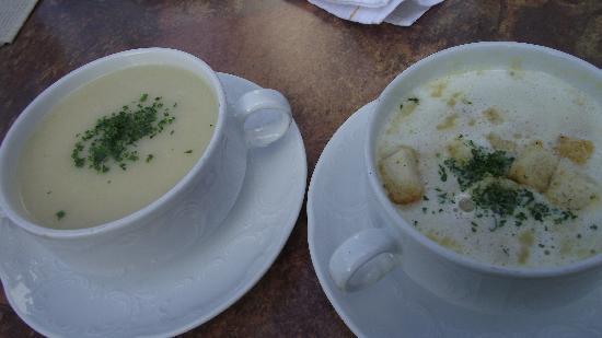 Landgasthof Hirsch: Cream of asparagus and Cream of Potato soups