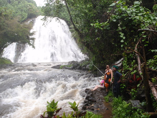 Pohnpei, Micronesia: Kepirohi Waterfall during a rainstorm