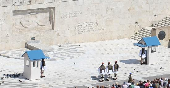 View of changing of the Guard at the Greece Parliament from GB Roof Garden