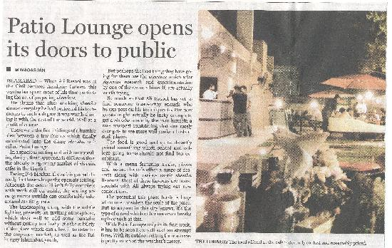 Patio lounge review in the Islamabad Dateline on the 29th of May 2011