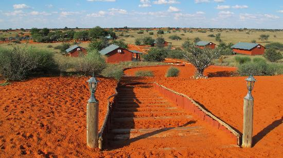Bagatelle Kalahari Game Ranch: Blick auf die Bungalows im Tal