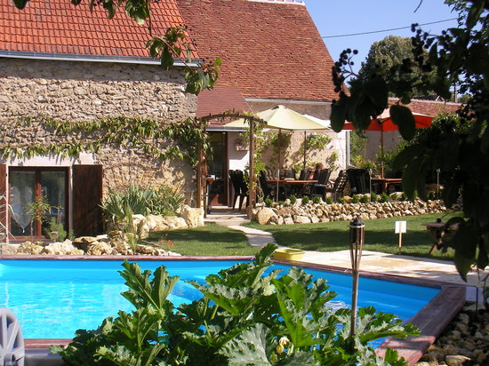 Vallee des Vignes Chambres d'Hotes : Terrace & Pool in Garden
