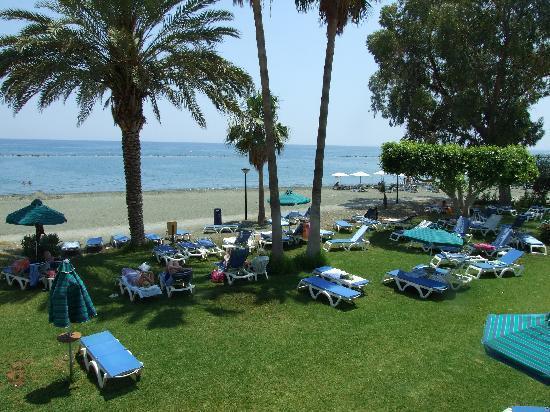 Poseidonia Beach Hotel: Grassed area for sunbathing