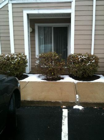 Residence Inn Boston Westborough : Patio at the end of winter