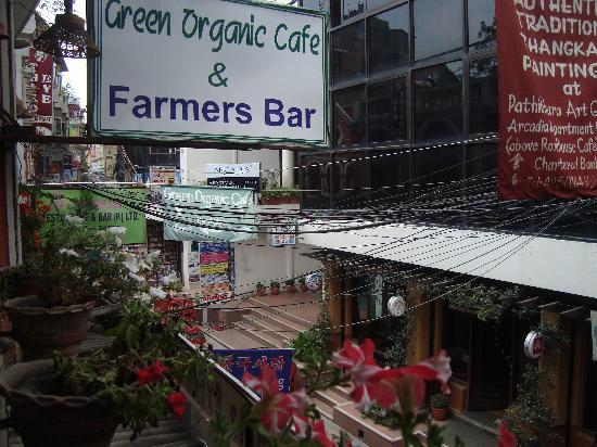 Green Organic Cafe and Farmers Bar: View from Organic cafe over Thamel