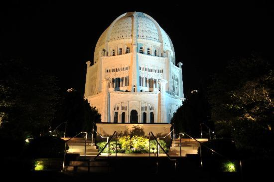 ‪‪Wilmette‬, إلينوي: Baha'i House of Worship at night‬