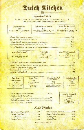 Dutch Kitchen: Sandwiches and sides menu