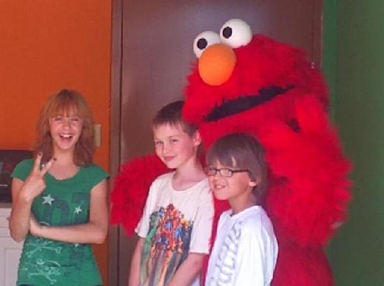 Busch Gardens: My son and friends with Elmo