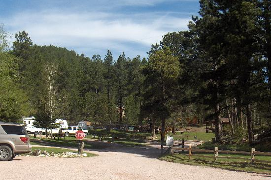 Horse Thief Campground: View from Campground Office looking up towards first cabins