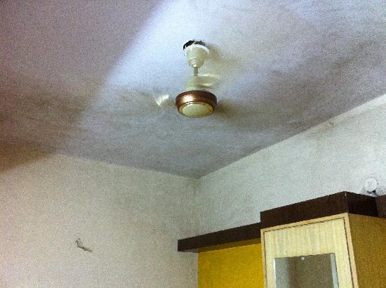 UG Deluxe Lodge: Dirty roof and bare wires... fan works tho!