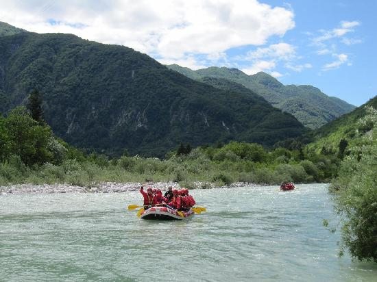 Emerald River Adventure: Rafting on the Soca, the rapids are down river!