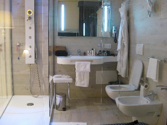 Hotel Antica Porta Leona & SPA: Bathroom of single room - completely enclosed in glass
