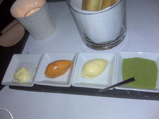 Blue Hill: Hors d'oeuvre involving arugula salt, sweet butter,and lardo butter.