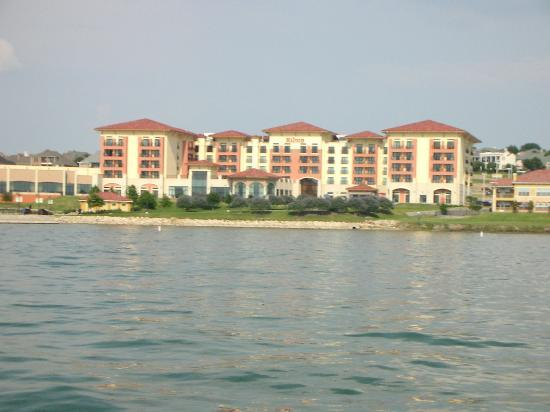 Hilton Dallas / Rockwall Lakefront: looking back at the hilton from the sailboat
